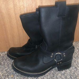 NWOT Nine West Black Leather Biker Boots